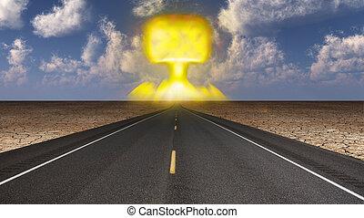 Mushroom cloud in distant roadways end