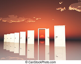 Sigle ope door in surreal landscape with setting or rising sun