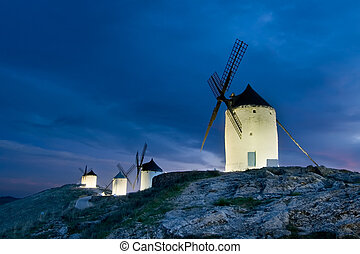 Windmills of La Mancha tonight, Toledo (Spain)