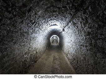 Salt mine from Turda, Romania - Corridor inside the salt...