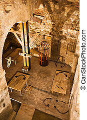 Dungeon - Holding cell in a medieval prison, with torture...