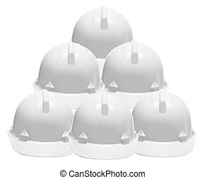 Hard Hats on White Background