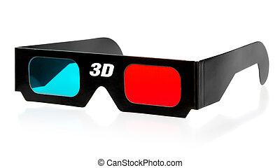 3d Glasses - black 3d eyeglasses isolated on white...