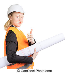 Engineer Woman Thumbs Up - engineer woman with drawing...