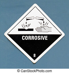 Corrosive hazard symbol warning sign on blue - Corrosive,...