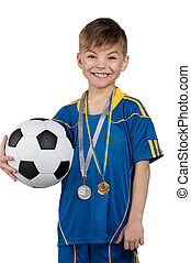 niño, ucranio, nacional, futbol, uniforme