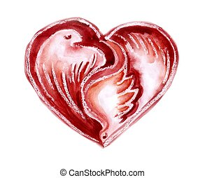 Watercolour heart with pigeons