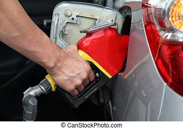 Fuel Pump - Gasoline pump refilling automobil fuel. Shallow...