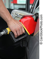 Fuel pump - Gasoline pump refilling automobil fuel. Shallow...