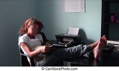 Homeschool Comfort - Homeschool student studying with feet...