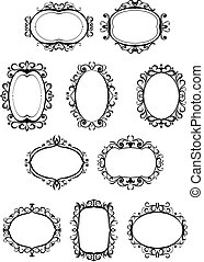 Retro frames with embellishments - Set of retro frames with...