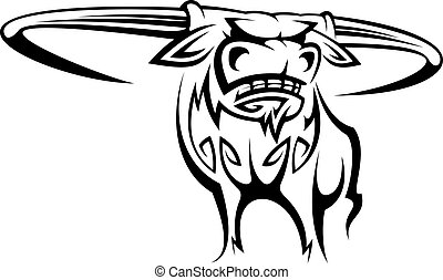 Buffalo mascot - Wild horned buffalo in cartoon style for...