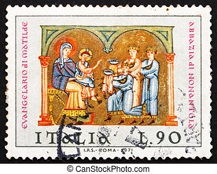 Postage stamp Italy 1971 Adoration of the Kings, Christmas