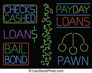 Neon cash sign set