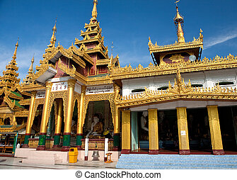 Golden temple pavilion encircling the main pagoda at...