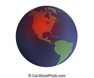 Image of Earth with red USA