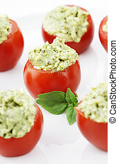 Avocado and Pesto Stuffed Tomatoes - Stuffed Tomatoes filled...