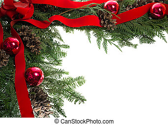 Christmas corner border with red bow and pine cones