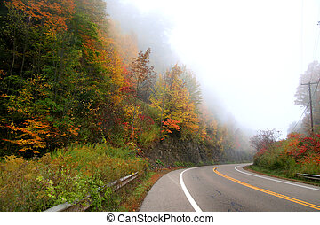 Fog on the High way - Beautiful autumn drive in Allegheny...
