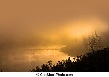 Morning sun - Misty morning with sun raise over lake