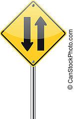dois, maneira, tráfego, sinal