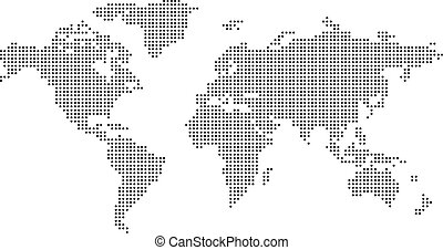 Dotted world map on white