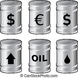 Oil barrel icon set