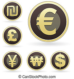Currency symbol icon set - International currency symbol...