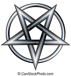 Metal pentagram vector - Pentagram inside a circle. Vector...