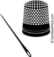 Thimble and needle silhouettes - Detailed vector...