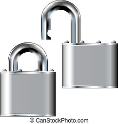 Stainless steel padlock vector - Padlock with stainless...