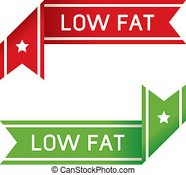Low fat food label - Low fat food corner label or sticker...
