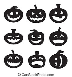 Halloween pumpkin silhouettes - Halloween decoration...