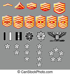 US Marine Corps rank insignia for officers and enlisted in...