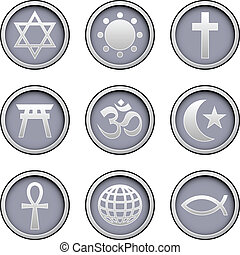 World religions icons set - Religious symbol icons on modern...