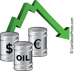 Falling oil prices vector - Oil prices dropping - vector...