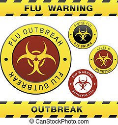 Swine flu warning sign - Swine flu pandemic outbreak warning...