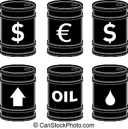 Oil barrels with icons - A set of glossy black vector oil...