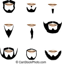 Facial hair variety vector - Beard and facial hair styles in...