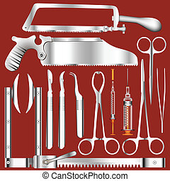 Surgical tools vector - Surgical tool set in stainless steel...
