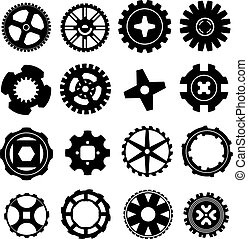 Gears and rims silhouettes - Vector silhouettes of gears,...