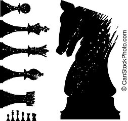 Grunge chess set - Vector silhouette of chess pieces in...