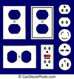 Electrical outlet vectors - Electrical outlets and...