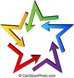 Arrows in star shape logo vector
