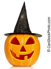 Halloween pumpkin - Funny Halloween pumpkin with black hat...