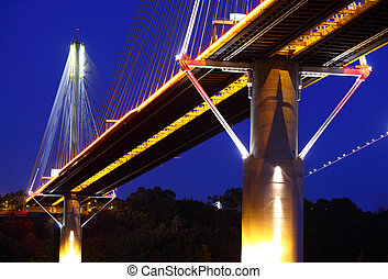 Ting Kau Bridge in Hong Kong at night