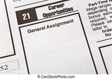 Career Opportunities - newspaper employment ad, Career...