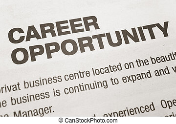 Career Opportunity - newspaper Career Opportunity ad,...