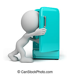 3d person with a refrigerator - 3d person looking inside a...