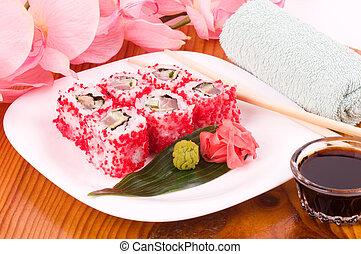 food Sushi. Sushi collection with flowers
